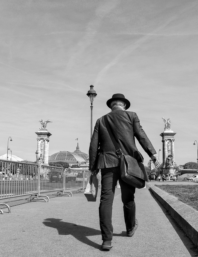 On his way. Grand Palais. Pont Neuf.
